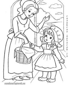 little red riding hood, karkulka Farm Animal Coloring Pages, Dog Coloring Page, Pattern Coloring Pages, Coloring Sheets For Kids, Cute Coloring Pages, Adult Coloring, Coloring Books, Fairy Tale Activities, Human Drawing