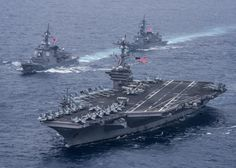 https://flic.kr/p/TDC2em | 170426-N-BL637-175 | PHILIPPINE SEA (April 26, 2017) The aircraft carrier USS Carl Vinson (CVN 70) and the Japan Maritime Self-Defense Force destroyers JS Ashigara (DDG 178), left, JS Samidare (DD 106) transit the Philippine Sea as part of a bilateral maritime exercise. The U.S. Navy has patrolled the Indo-Asia-Pacific routinely for more than 70 years promoting regional peace and security. (U.S. Navy photo by Mass Communication Specialist 2nd Class Sean M…