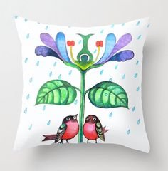 Bird pillow cover floral whimsical home decor by sublimecolors on Etsy