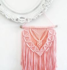 PEACHY - large macramé wall hanging made from driftwood and elastic ribbon in peachy bright pink nuances ♡ Measuring: 41 × 99 cm ------------------------------------------------------- ☆ MADE TO ORDER! ☆ This piece is made to order. When you place the order, your design will