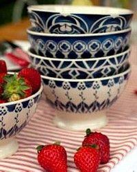 Blue French Cafe Au Lait Bowls Bowl White Coffee Vintage