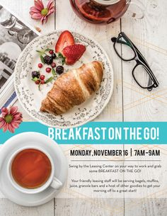 Property Management flyer design - Invite your residents to breakfast on the go!