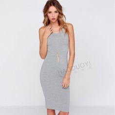 "Sexy slim Bodycon sleeveless dress Super soft Bodycon sleeveless dress made out of cotton and polyester materialit's knee length. Has a very cute good back zipper. MEASUREMENTS: BUST 32.6"" LENGTH: 39"" Dresses Midi"