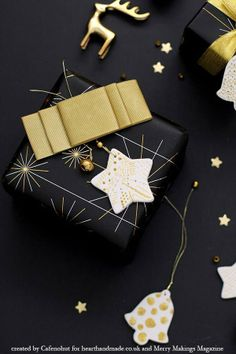 Black & Gold Christmas Gift Wrap