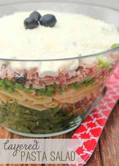 Delicious Layerd Pasta Salad with homemade dressing recipe { lilluna.com }