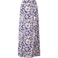Miss Selfridge Floral Maxi Skirt, Blue ($42) ❤ liked on Polyvore featuring skirts, rayon maxi skirt, pink maxi skirt, slit maxi skirt, blue maxi skirt and long straight skirts