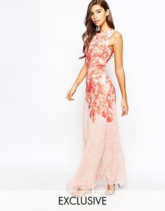 9fefb6ff08 Image 1 of True Violet Rose Print Maxi Dress In Chiffon Printed Bridesmaid  Dresses