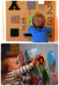 diy sensory boards for babies and toddlers tutorial...love the hoops as fabric holder genius.