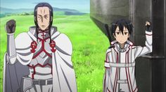 sword art online funny | Kirito and Kuradeel glare at each other. This is why they can't get ...