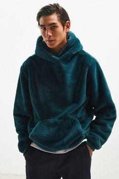 UO Faux Fur Hoodie Sweatshirt by Urban Outfitters Faux Fur Hoodie, Fleece Hoodie, Mens Sherpa, Latest Mens Wear, Mens Fur, Hoodie Outfit, Trends, Mens Sweatshirts, Moda Masculina
