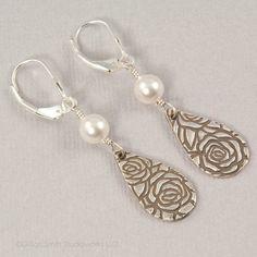 PMC fine silver pearl teardrop earrings, Precious Metal Clay jewelry by BellesBijouxDesigns