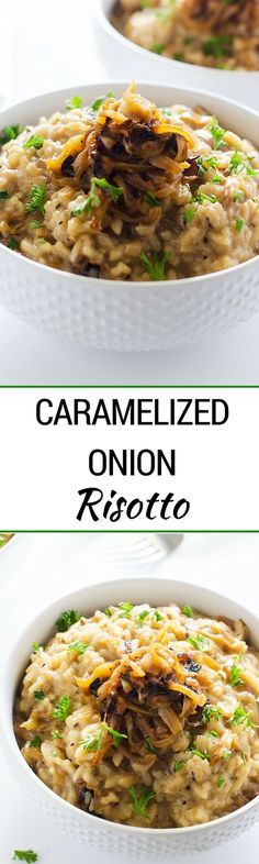 Caramelized Onion Risotto - With caramelized onions, goat cheese and Parmesan cheese, this Caramelized Onion Risotto will blow you away! It is an elegant vegetarian main dish, or may be served as a side. Either way, it is a celebration-worthy dish. - WendyPolisi.com