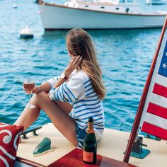 "veuveclicquot: "" Labor Day Keep reading "" Boat Fashion, Nautical Fashion, Nautical Outfits, Preppy Fashion, Fashion Decor, Petite Fashion, Frat Collection, Prep Style, My Style"