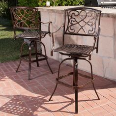 Santa Maria Bar Stool (Set of by Christopher Knight Home (Santa Maria Bar Stools (Set of Brown(Aluminum), Patio Dining Chairs Bar Furniture, Living Furniture, Outdoor Furniture Sets, Outdoor Decor, Outdoor Living, Backyard Furniture, Outdoor Fun, Outdoor Ideas, Outdoor Spaces