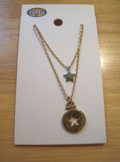 Fossil Brand~Two Tone Star and Cut Out Pendant~Gold Layered Chain Necklace~$48 #Fossil #Pendant