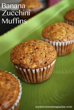 Banana Zucchini Muffins - These Banana Zucchini Muffins are dense, moist and delicious, but they also use the other food I always seem to have in great abundance:  over-ripe bananas!  Plus, the use of whole wheat flour, agave and applesauce makes a mommy quite happy on the nutritional end.