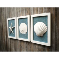 Cottage Chic Set of Beach Decor, Wall Art, Nautical Decor, Coastal... (€52) ❤ liked on Polyvore featuring home, home decor, wall art, white wall art, beach home accessories, beach wall art, white home accessories and burlap home decor