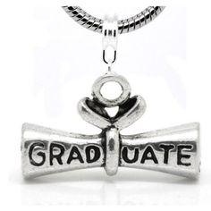 "Amazon.com: "" Graduate Diploma "" Dangle Charm Bead Fits Pandora Troll Chamilia Biagi Bracelet Compatible and Many More Style Bracelets..: Je..."