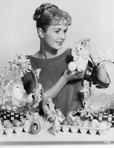 Debbie Reynolds celebrating Easter in full (adorable) force, 1954. #vintage #1950s #Easter #decorations
