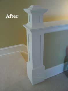 Do you have a half wall on you staircase like this that could use a little dressing up? Newel posts like these are really easy to build and can be made from very inexpensive materials. Balustrades, Banisters, Stair Railing, Railings, Banister Rails, Demis Murs, Pony Wall, Basement Stairs, Attic Stairs