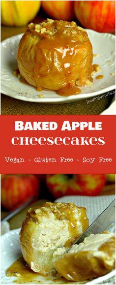 Baked Apples Stuffed with Vegan Cheesecake - vegan, gluten free, refined sugar free, soy free Gluten Free Baking, Gluten Free Desserts, Vegan Gluten Free, Vegan Desserts, Dairy Free, Delicious Desserts, Gf Recipes, Apple Recipes, Gluten Free Recipes