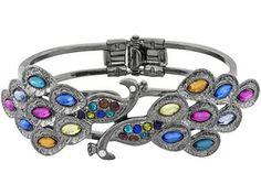 Off Park Collection, Black Tone Peacock Bangle Bracelet