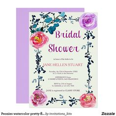 Peonies watercolor pretty floral bridal shower card