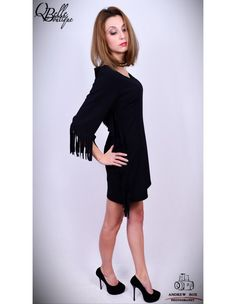 Rochie neagra cu franjuri Black, Dresses, Fashion, Gowns, Moda, Black People, Fashion Styles, All Black, Dress