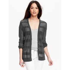 Old Navy Womens Shadow Stripe Cardigans featuring polyvore, fashion, clothing, tops, cardigans, black, v neck cardigan, lightweight black cardigan, long sleeve tops, v-neck tops and black fitted cardigan