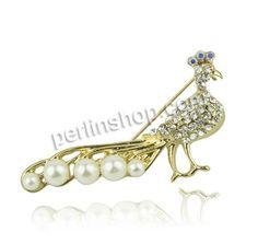 Zinklegierung Broschen, mit Kunststoff Perlen, Pfau, goldfarben plattiert, mit Strass, frei von Nickel, Blei & Kadmium, 54x22mm