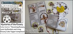 The Mysteries of the Rosary Craft Kit includes a Revolving Rosary, Lace-Up Booklet and Cake Topper templates for each of the 4 sets of Mysteries!