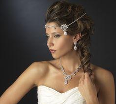 Glamorous CZ Wedding Necklace and Earring Set (