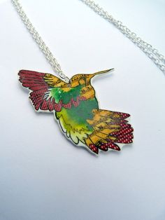 Humming Bird necklace  shrink plastic pendant  hand by Floralchic, £11.00