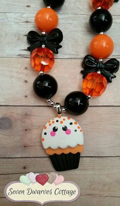 Halloween Cupcake Cutie clay chunky bubblegum bead necklace  Check out this item in my Etsy shop https://www.etsy.com/listing/248973827/halloween-cupcake-cutie-clay-chunky