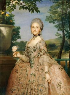 Anton Raphael Mengs Maria Luisa of Parma , , Musee du Louvre, Paris. Read more about the symbolism and interpretation of Maria Luisa of Parma 1 by Anton Raphael Mengs. Parma, Marie Antoinette, Carl Spitzweg, Miniature Portraits, 18th Century Fashion, Louis Xiv, Woman Painting, Art History, French History