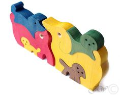 Wooden Puzzle Dog Family, Wooden toys. Wooden Animal Puzzle