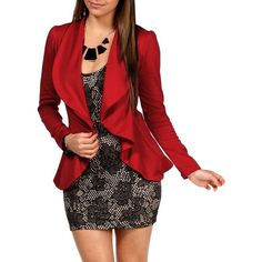Ruby Cascade Blazer ($30) ❤ liked on Polyvore featuring outerwear, jackets, blazers, outfits, dresses, full outfits, red blazer jacket, red jacket, long sleeve jacket and blazer jacket