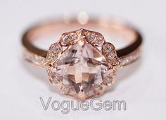 VogueGem 14K Rose Gold Brilliant Morganite Diamond Engagement Wedding Ring on Etsy, $718.00
