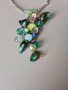 Green Necklace and a Cascade of Treasures by LittleGemsByLuisa, $35.00