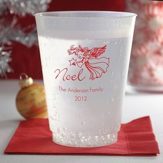 Our favorite pick for Christmas party guest favors, 16 ounce reusable, flexible frosted plastic drink cups personalized with choice of holiday design and up to 4 lines of custom print make the perfect souvenirs for your family or corporate Christmas party. These cups can be ordered at http://myweddingreceptionideas.com/16_oz_personalized_frosted_plastic_christmas_cups.asp