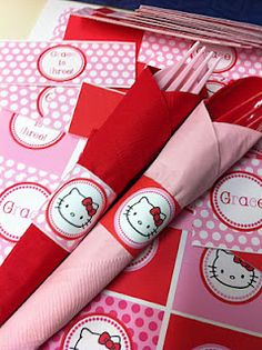 Hello Kitty birthday party . . . .  this could be done for party theme . . .  make colorful place mats, wrap utilizes wtih colorful napkin & wrap with a paper band of contrasting color