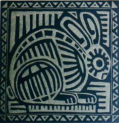 El Conejo, Linocut Copyright 2012 Anne Moore. Has the spirit of a mola.
