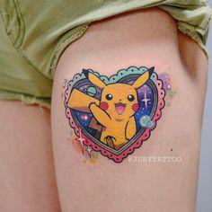 Super cool PIKACHU tattoo design on hip Gamer Tattoos, Badass Tattoos, Love Tattoos, Body Art Tattoos, Tatoos, Cartoon Character Tattoos, Cartoon Tattoos, Anime Tattoos, Naruto Tattoo