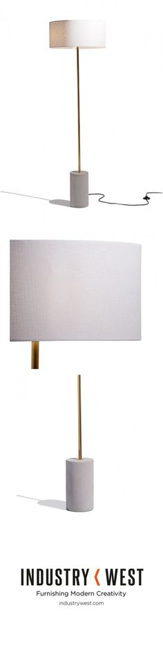 Exclusive lighting from m.a.d. design the Pier Lamp cheekily references nautical inspirations and executes it in a one of kind statement piece. The base features a smoothed cement finish, and an eye catching brushed brass. Featuring a convenient floor switch the Pier Lamp can utilize any standard E26 based bulb.