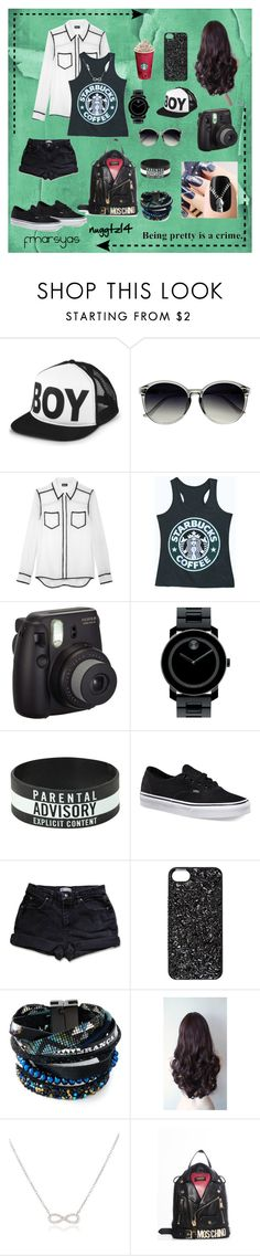 """Black Photo Hunting ⚫️"" by nuggtz14 ❤ liked on Polyvore featuring BOY London, Retrò, DKNY, Fujifilm, Movado, Vans, Marc by Marc Jacobs, Hipanema, Adina Reyter and Moschino"