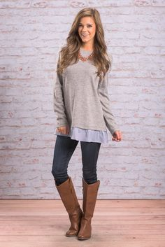 """""""Everything And Always Top, Gray"""" You will always love everything about this top! It's got such a precious preppy vibe! #newarrivals #shopthemint"""