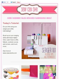 Serger 101. I need to learn to use mine for more than finishing my alterations/projects!  :0)