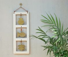 Brass and Ceramic Wall Hanging Decor - Mixed Media Wall Decor - Fish - Vine Leaf - Pomegranate - Mobile