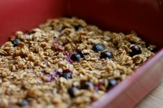 Baked Maple Blueberry Oats. Enjoy plain, or crumbled on top of top of Greek yogurt for breakfast. Serve warm with vanilla ice cream for dessert.