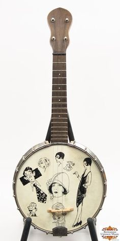 "This is a very high quality banjo uke with 8 1/2"" rim with metal flange and tone ring. The wide flat maple neck has 15 frets and is easy playing. The instrument is heavily constructed and all original including the calfskin head with period drawings. Original spring loaded Grover mini tuners.Include is a good mandolin case that fits it perfectly."